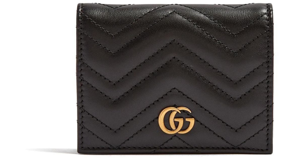 8b8a10506a57 Gucci Gg Marmont Small Quilted Leather Wallet in Black - Lyst