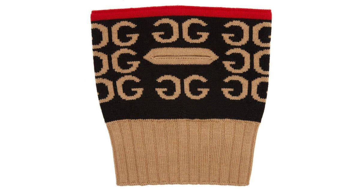 39dc1e6ea3a Lyst - Gucci Gg Intarsia Wool Balaclava in Red
