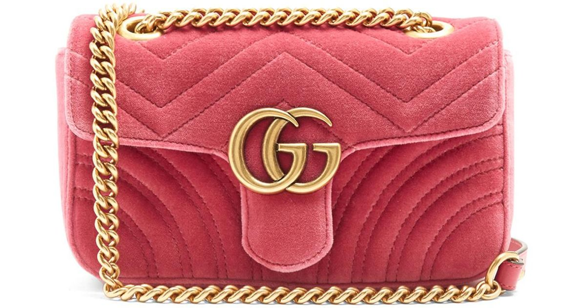 901b491000627 Lyst - Gucci Gg Marmont Mini Quilted-velvet Cross-body Bag in Pink