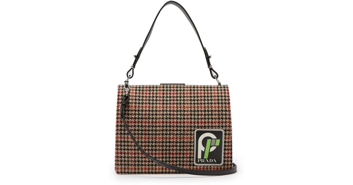 c7d5af8d5c35 Lyst - Prada Frame Logo Patch Houndstooth Bag in Black