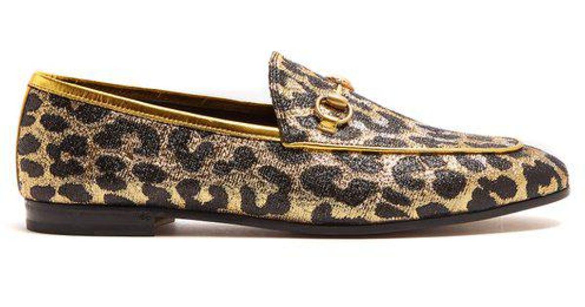 616acdf4f72 Lyst - Gucci Jordaan Leopard-jacquard Loafers
