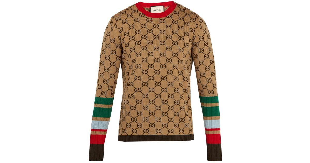 19e43228b7c3b9 Lyst - Gucci Gg-jacquard Crew-neck Wool Sweater in Natural for Men