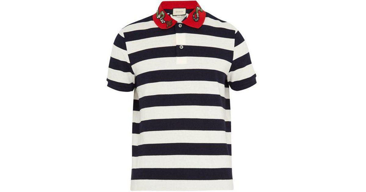 c8e06a06 Gucci Snake-appliqué Striped Cotton Polo Shirt in Blue for Men - Lyst