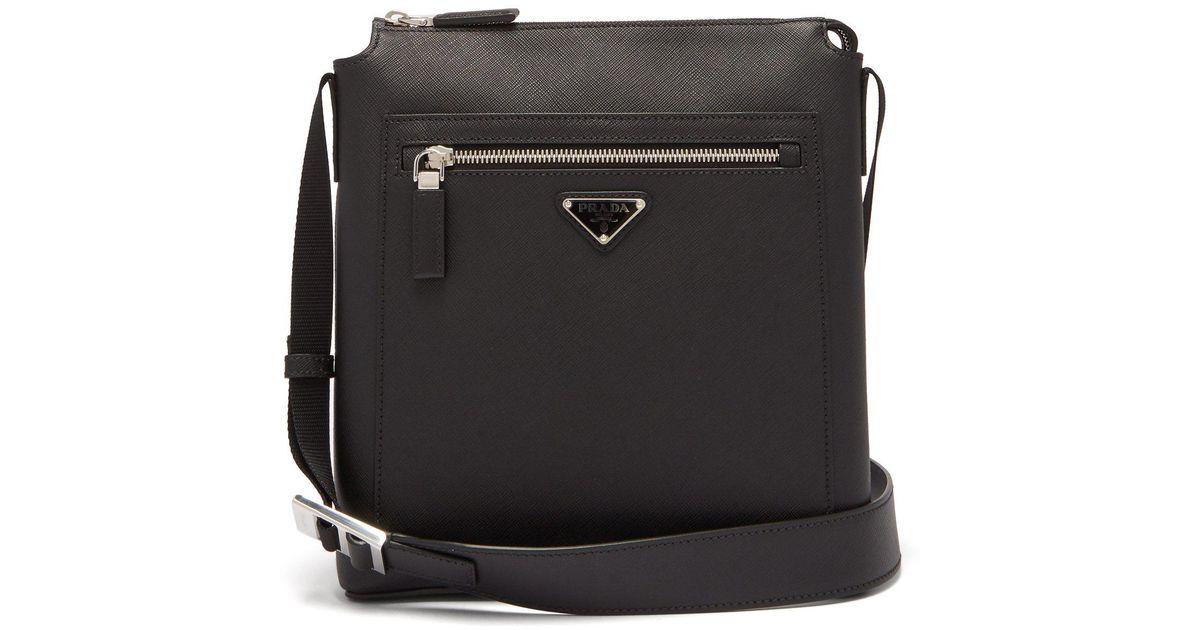 e501ac6c2aa9 Prada Logo Plaque Leather Messenger Bag in Black for Men - Lyst