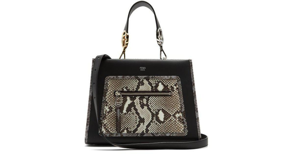 15d9698a8 Fendi Runaway Small Python And Leather Bag in Black - Lyst