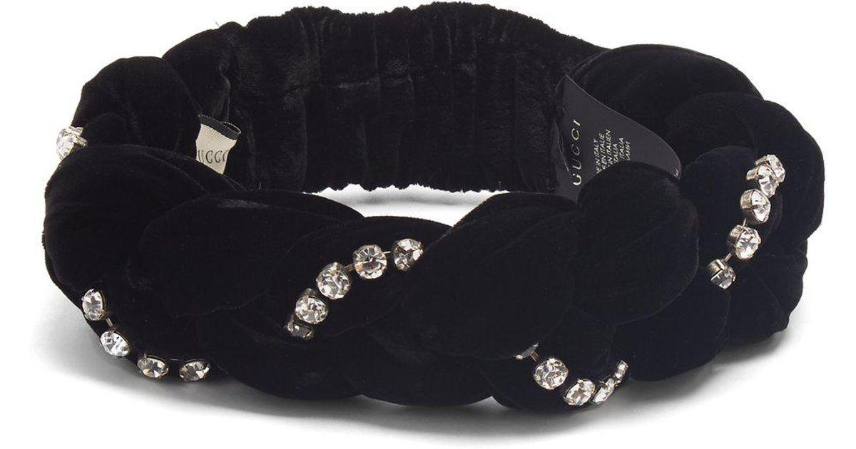 34e54b50bbd Lyst - Gucci Crystal Embellished Braided Velvet Headband in Black