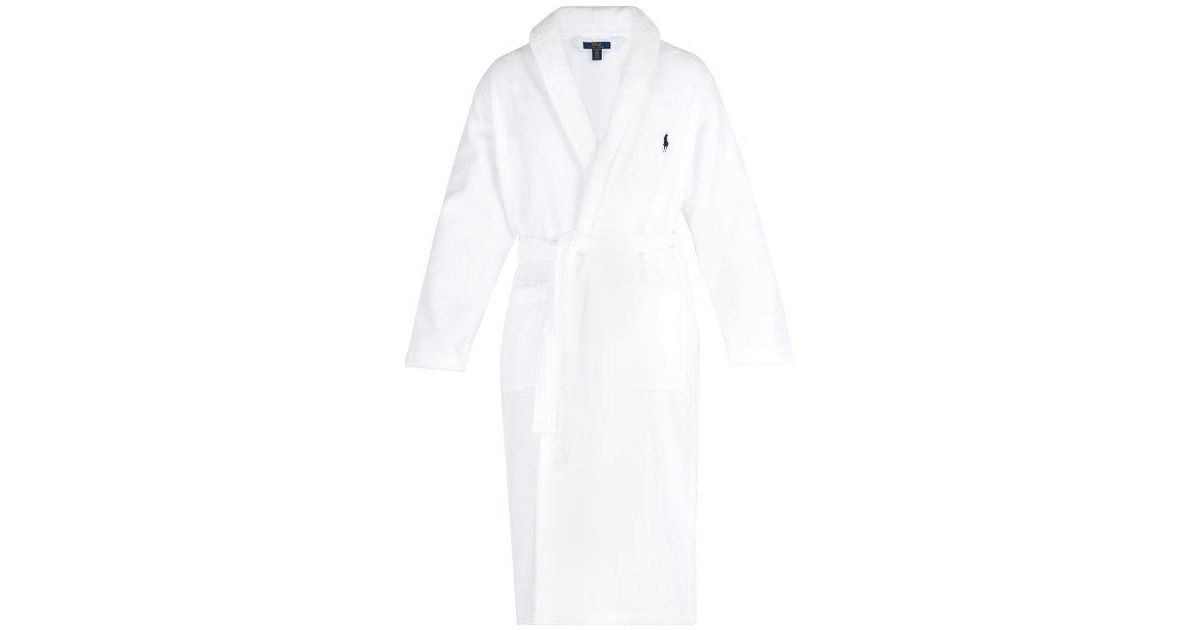 Polo Ralph Lauren - Logo Embroidered Terry Towelling Cotton Bathrobe - Mens  - White in White for Men - Lyst 33969d706