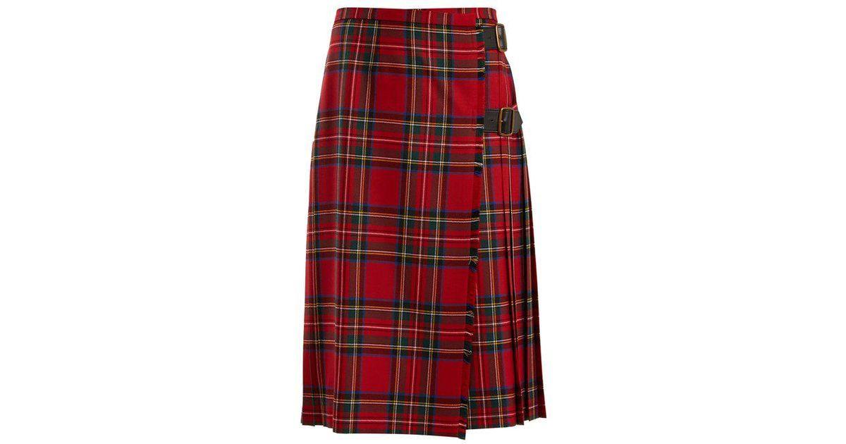 5812436d7 Burberry Taybridge Tartan Wool-twill Midi Skirt in Red - Lyst