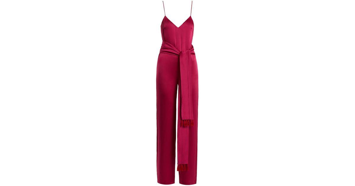72fa40a7bea Lyst - Galvan London Cuzco Tassel Embellished Wide Leg Satin Jumpsuit in  Pink