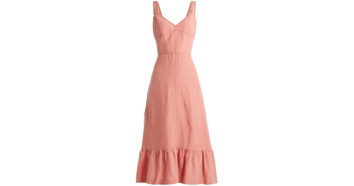 886ace86853 Lyst - Rebecca Taylor Lace-up Back Linen Midi Dress in Pink