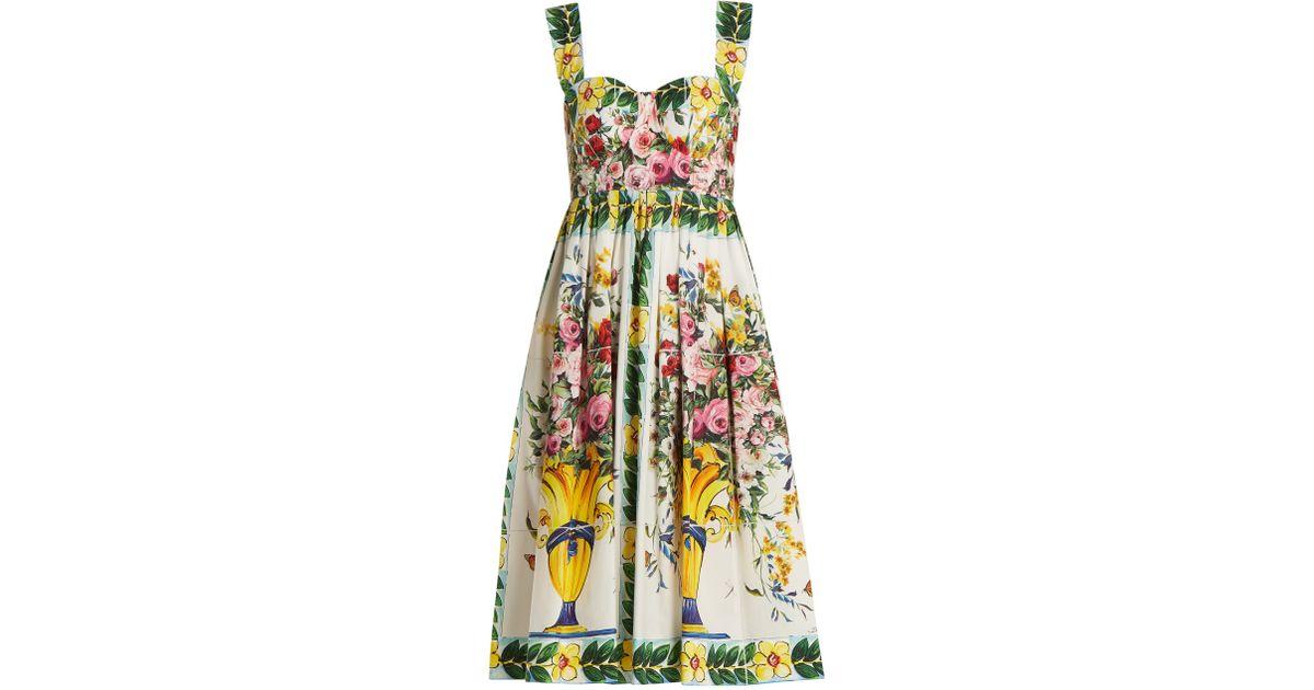 1f98cd51 Dolce & Gabbana Floral-print Gathered-skirt Cotton-poplin Dress in White -  Lyst