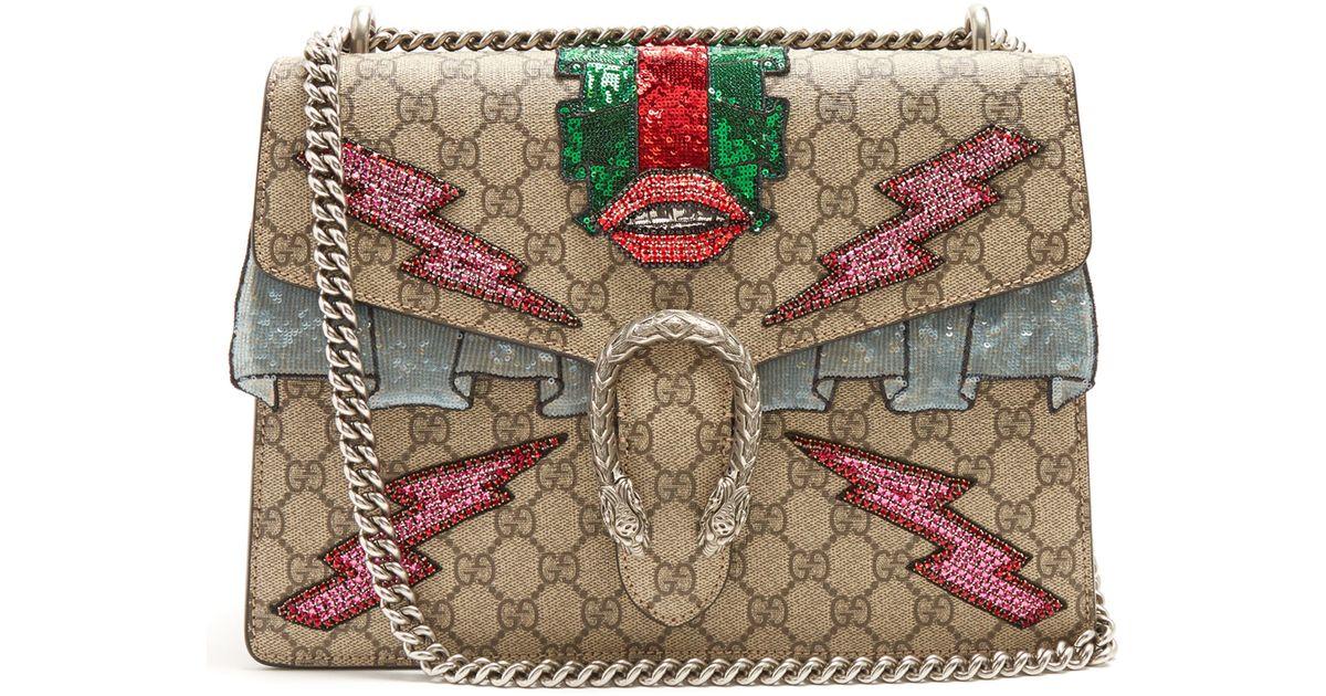 6f487c95f536 Gucci Dionysus GG Supreme Embellished Shoulder Bag - Lyst