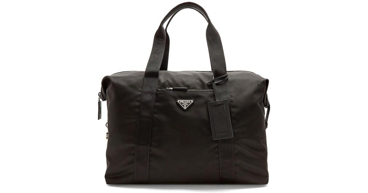 daf14807dc32 Lyst - Prada Top-handle Nylon Weekend Bag in Black for Men
