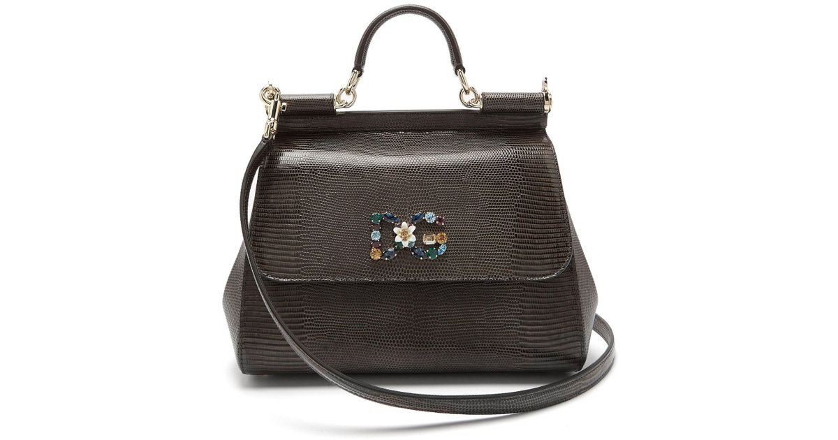 d1d9df135f Lyst - Dolce   Gabbana Sicily Large Plus Stampa Iguana Top-handle Bag in  Gray