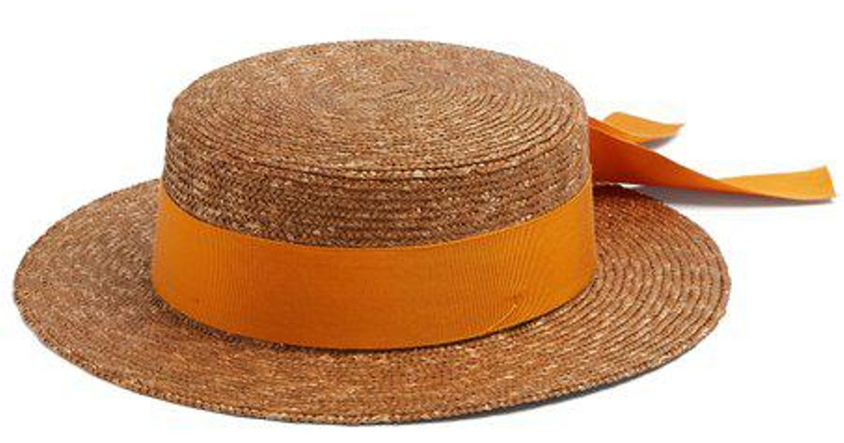 09440df169b Lyst - Federica Moretti Ribbon-embellished Flat Top Straw Hat in Brown