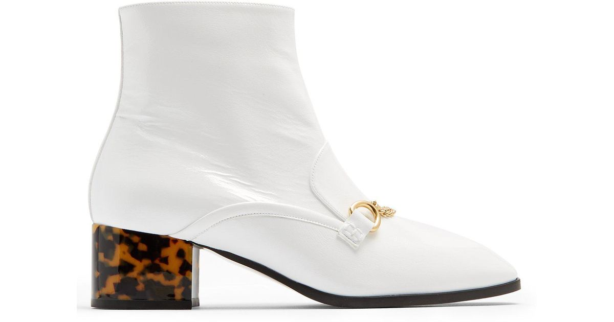 f69b33faa57 Lyst - Stella McCartney Block-heel Faux-leather Ankle Boots in White