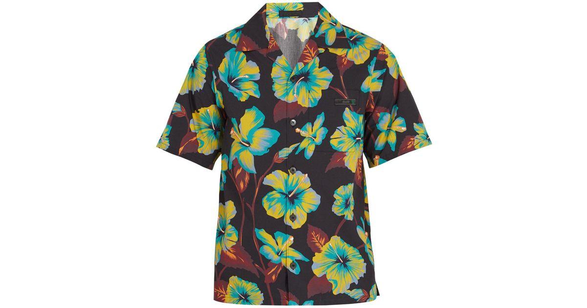 Lyst - Chemise bowling en coton à imprimé floral Prada pour homme en  coloris Noir 8d2b82e9eeb