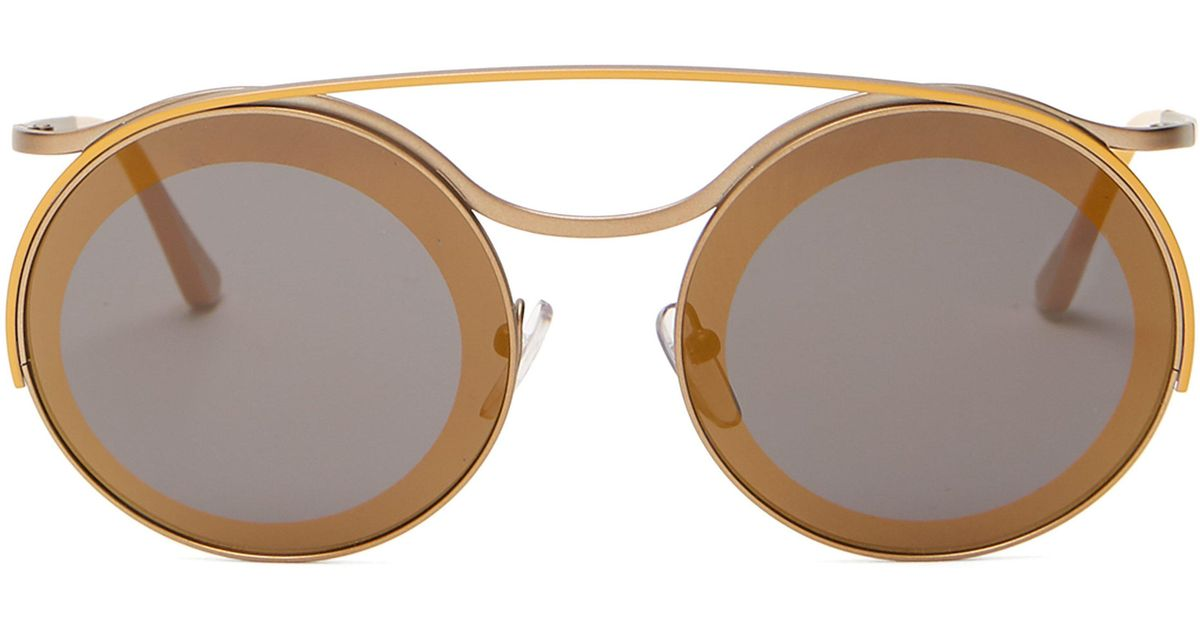 2b8a52b7d1c Marni Calder Round Frame Metal Sunglasses in Metallic - Lyst
