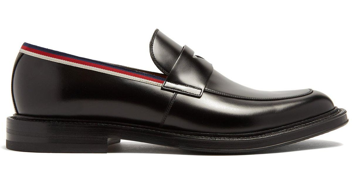 b0a085630cc Lyst - Gucci Beyond Web Striped Embellished Leather Loafers in Black for Men