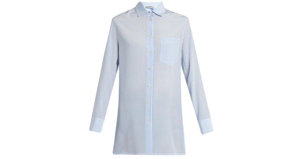 24b039fd44e87 Lyst - Valentino Cowl-back Striped Silk Shirt in Blue