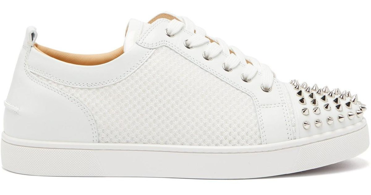 bfca6cb60db Christian Louboutin - White Ac Louis Junior Spikes Mesh And Leather  Trainers for Men - Lyst