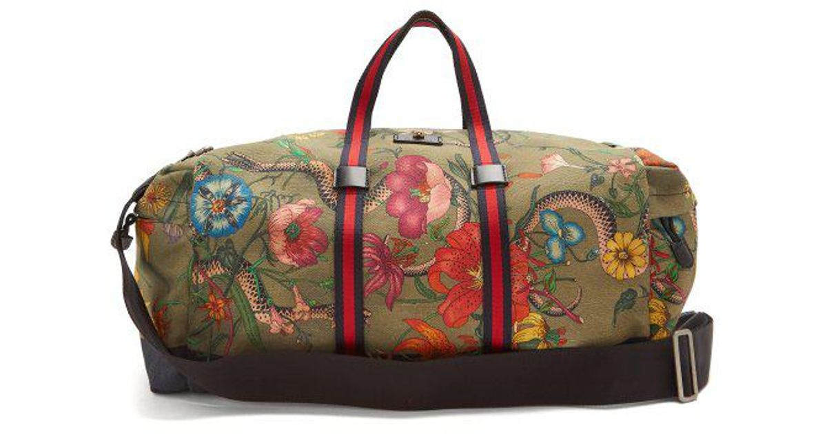 075032dd96fd Gucci Floral-print Web-striped Duffle Bag for Men - Lyst