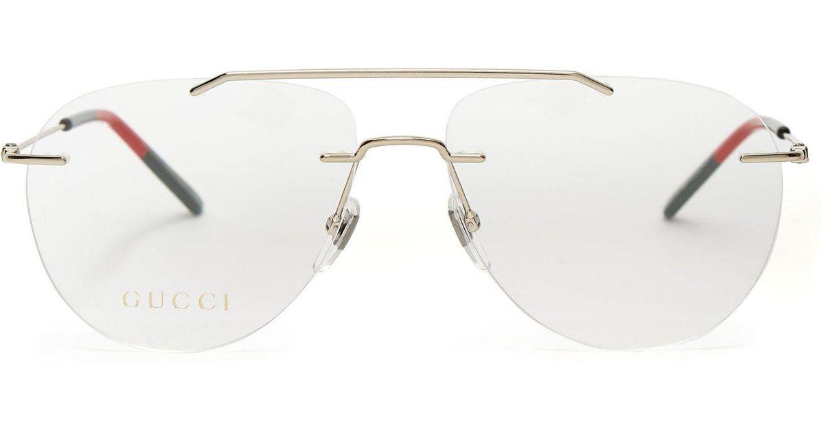 c5b6d99a3 Gucci Rimless Aviator Glasses in Metallic - Lyst