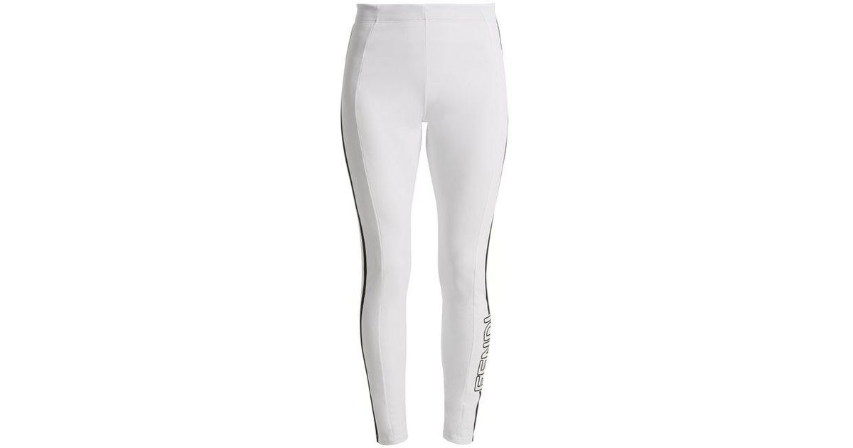 04e56bab67981e Fendi Side-logo Performance Leggings in White - Lyst