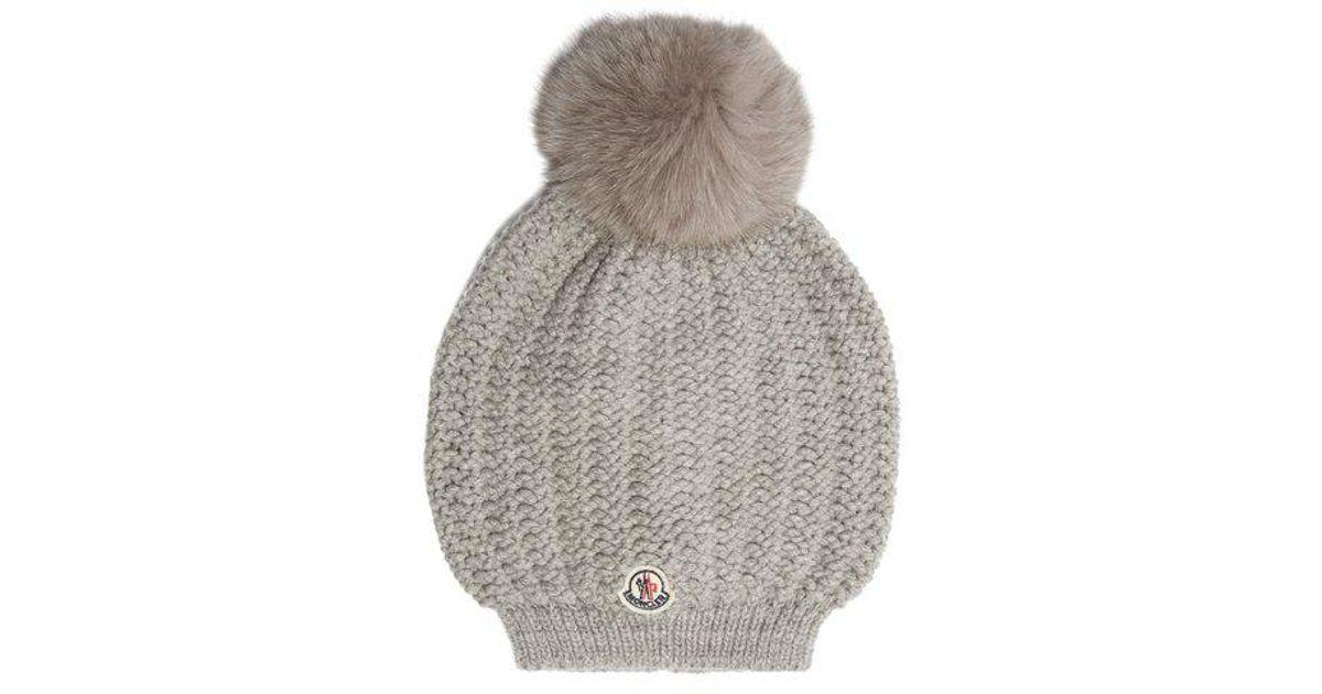 571e02926d7 Lyst - Moncler Fur-pompom Wool Beanie Hat in Gray