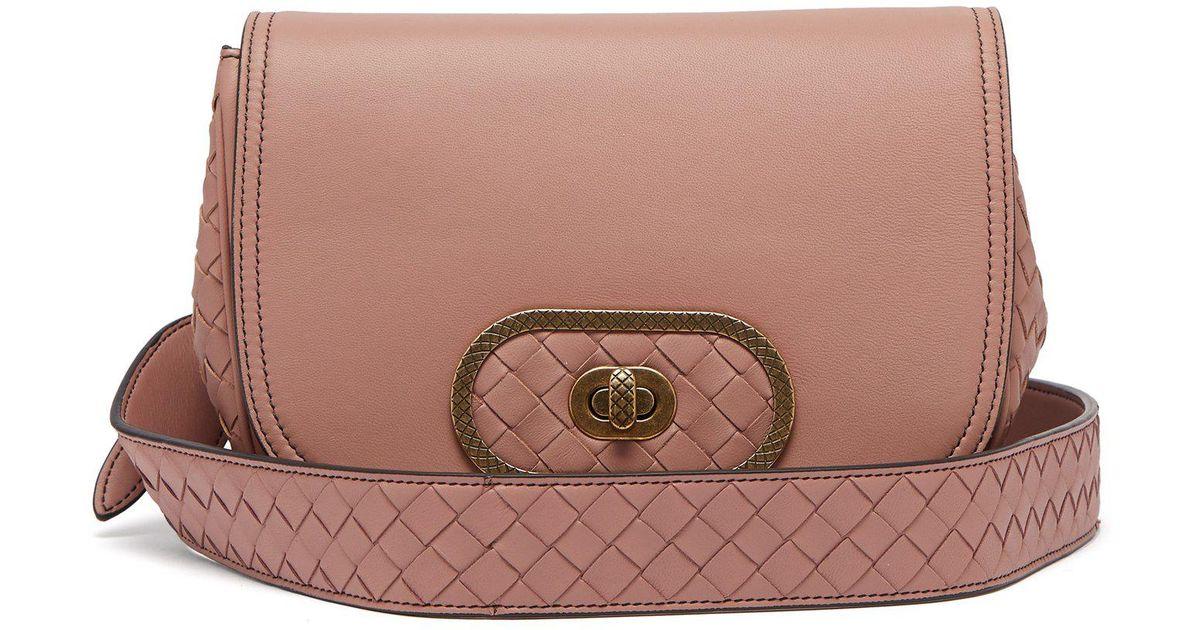 1c6d80de7438 Lyst - Bottega Veneta Bv Luna Leather Cross Body Bag in Pink