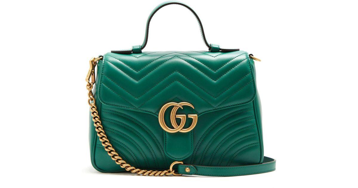 Lyst - Sac porté épaule en cuir matelassé GG Marmont Gucci en coloris Vert 9f504335977