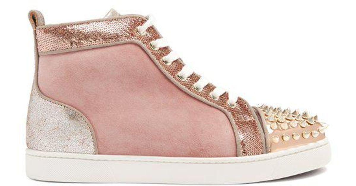 9a231a2839f3 Christian Louboutin Lou Stud-embellished Suede High-top Trainers in Pink -  Lyst