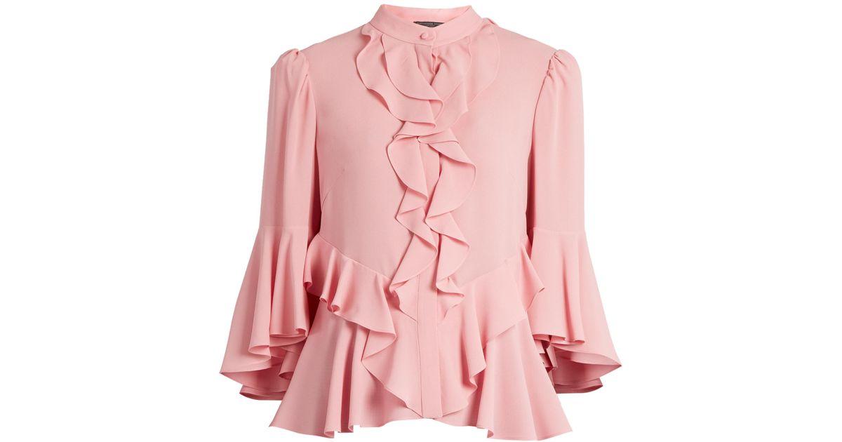 6c4597564d8b6 Lyst - Alexander McQueen Ruffled-front Silk-georgette Blouse in Pink