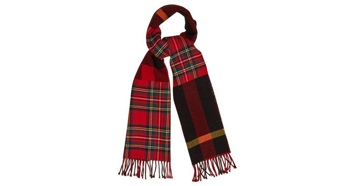 20a597e91e02 Lyst - Burberry Tartan And Checked Wool Scarf in Red for Men