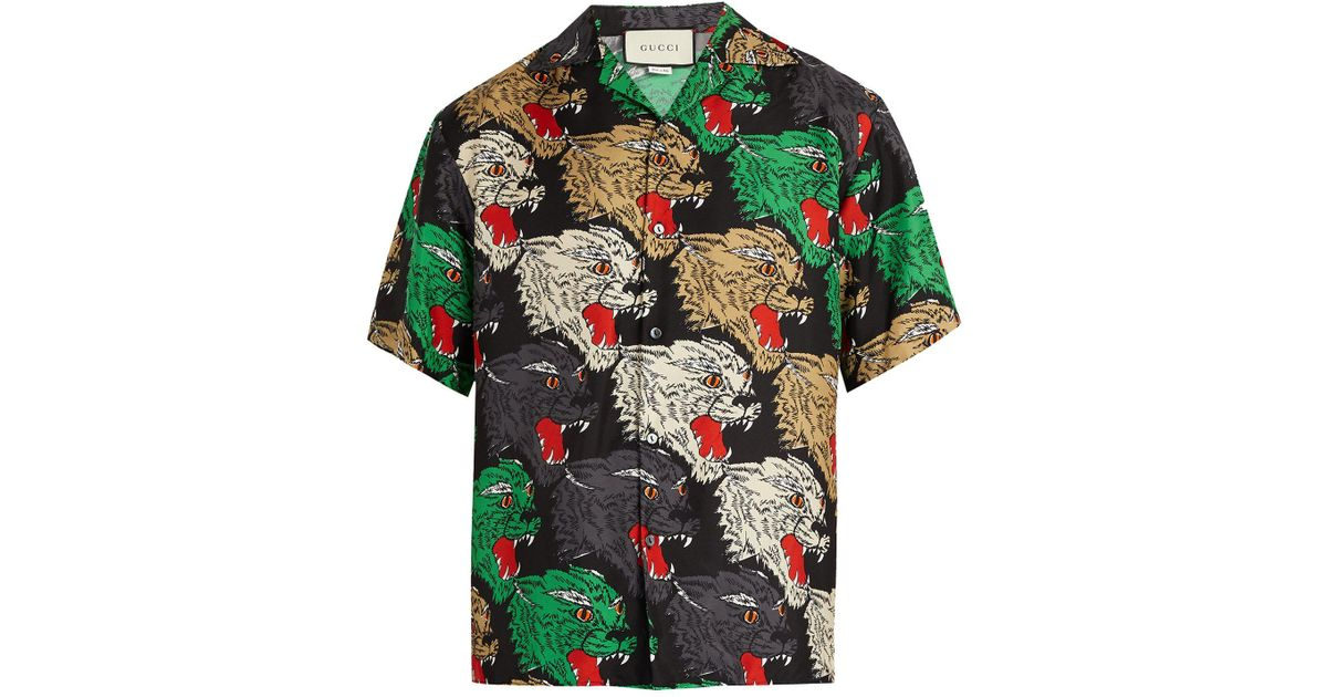049a42b06 Gucci Angry Tiger-print Silk Bowling Shirt in Green for Men - Lyst