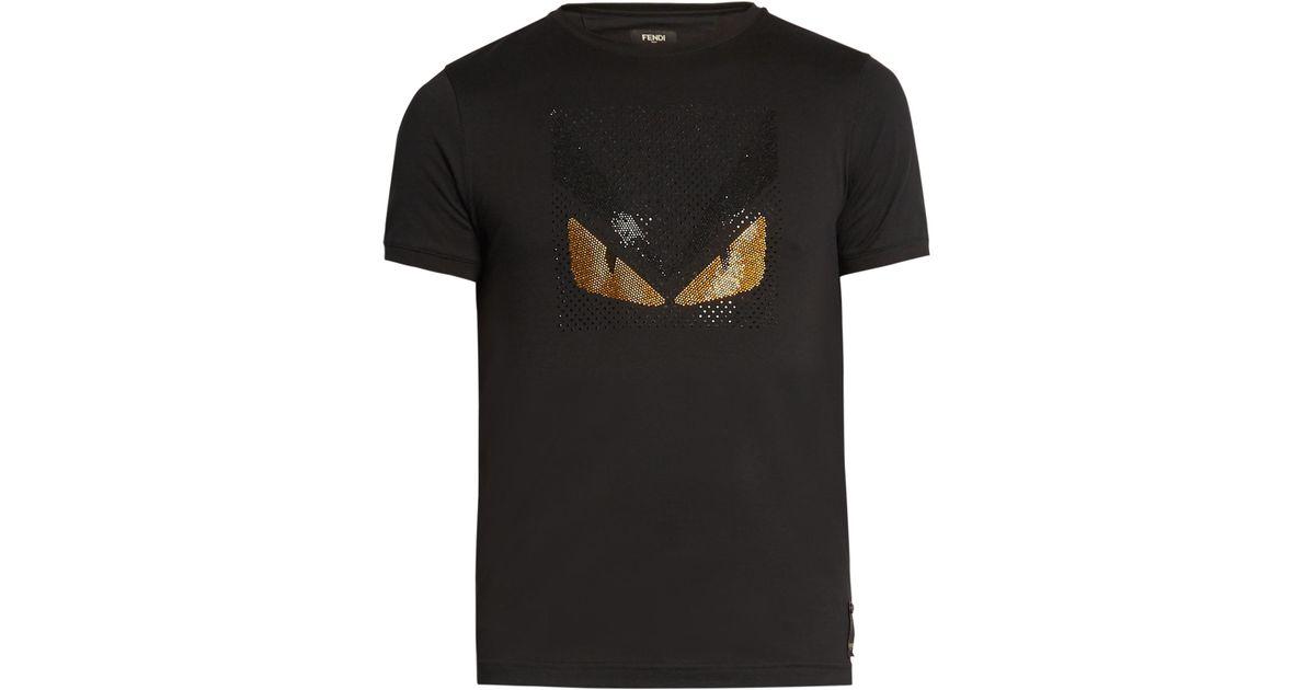 74dc352bc Fendi Bag Bugs-embellished Cotton-jersey T-shirt in Black for Men - Lyst