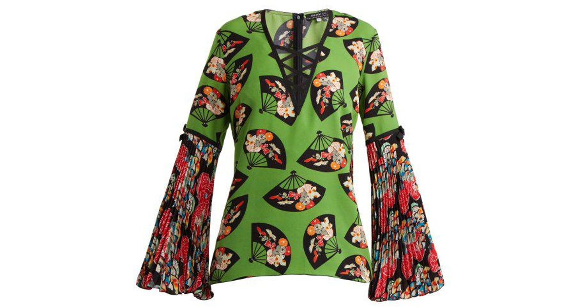 Flared-sleeve fan-print silk top Andrew Gn Buy Cheap High Quality Buy Cheap Big Discount New Release Z1rBdm