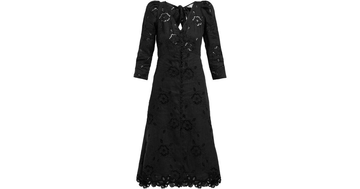 7f3f9233de Lyst - Rebecca Taylor Terri Broderie Anglaise Linen Dress in Black