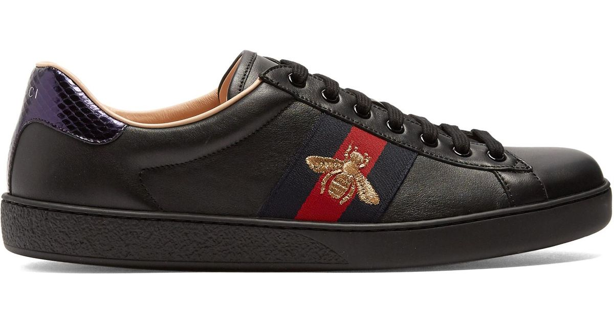 6c9442ad92f Lyst - Gucci New Ace Black Leather Trainers in Black for Men - Save 15%