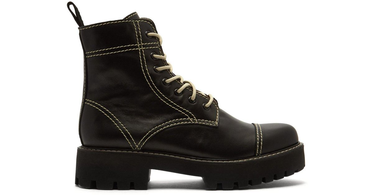 06af25554ea ALEXACHUNG Military Leather Boots in Black - Lyst