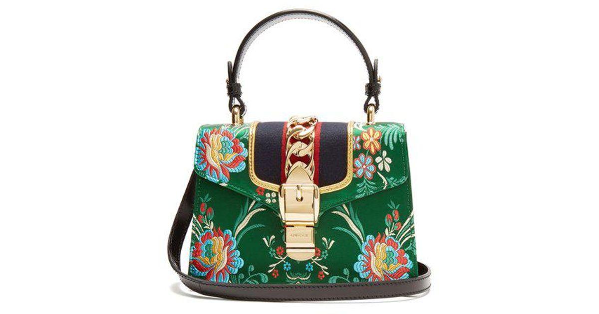 31bc49679 Gucci Sylvie Mini Floral-jacquard Shoulder Bag in Green - Lyst