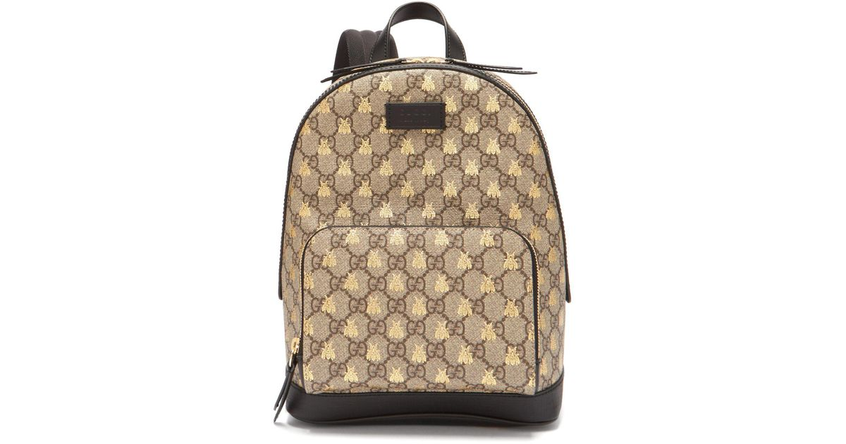 Lyst - Gucci Gg Supreme Logo And Bee Backpack in Natural for Men 6a6c6e5928d14