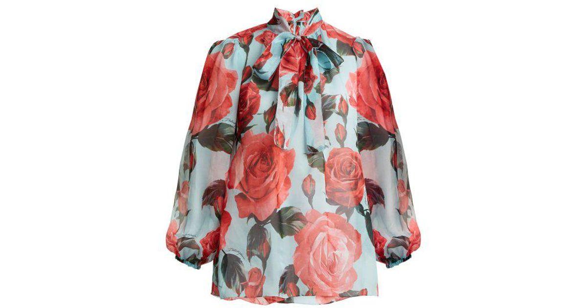 861ffdf336207c Dolce & Gabbana Floral-print Tie-neck Silk Blouse - Lyst