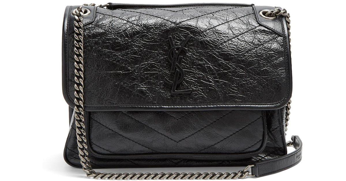 4211c83507d Lyst - Saint Laurent Niki Medium Quilted Leather Bag in Black