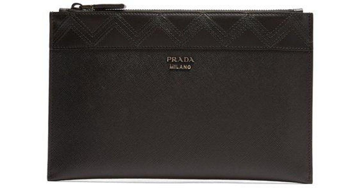 81c99eca149d Prada Zigzag Embroidered Saffiano-leather Pouch in Black for Men - Lyst