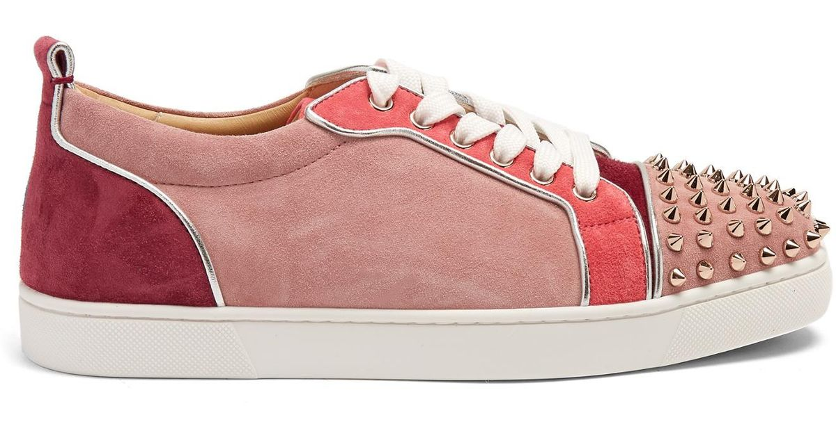 fc0ddc223026 Lyst - Christian Louboutin Louis Junior Embellished Suede Low-top Trainers  in Pink
