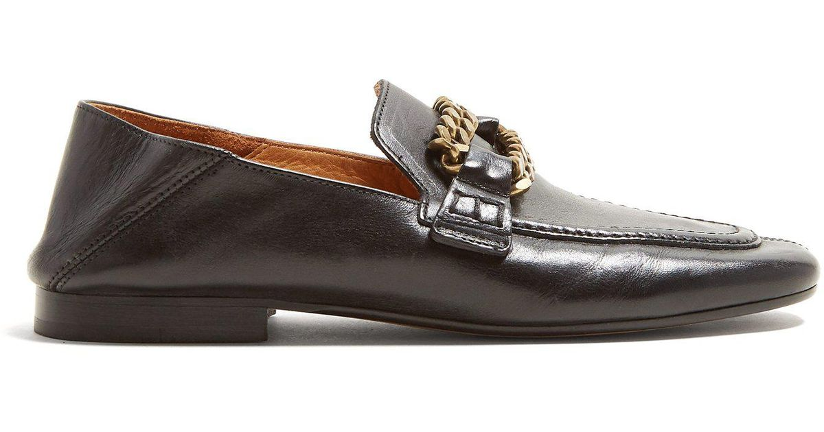 7fc14bb6a2e Lyst - Isabel Marant Firlee Chain Trimmed Leather Loafers in Black