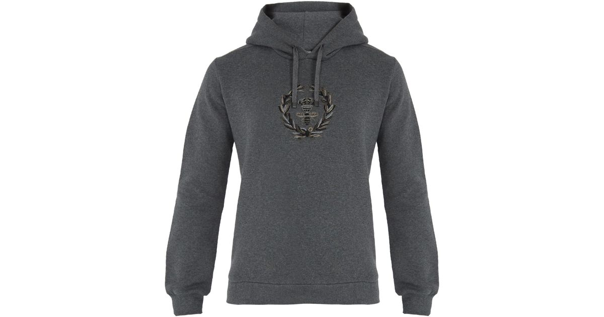 4d4f03a1042a Lyst - Dolce   Gabbana Crest-embroidered Hooded Cotton-blend Sweatshirt in  Gray for Men