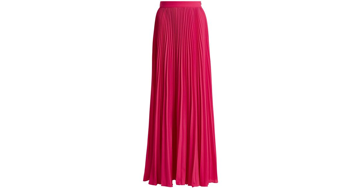 50406445ca Adriana Degreas Le Fleur Pleated Silk Maxi Skirt in Pink - Lyst