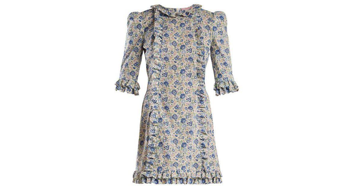 flora print mini dres - Blue Kristina Ti I5VXakR